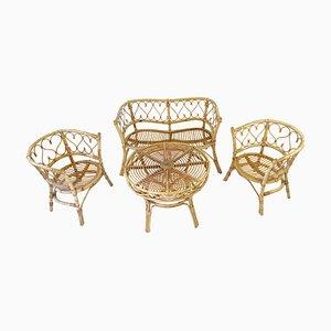 Poltrone, tavolo e panca Mid-Century in vimini e bambù, anni '60, set di 4