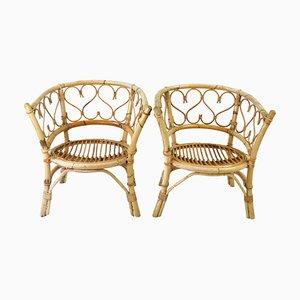 Mid-Century Rattan & Bamboo Armchairs, 1960s, Set of 2