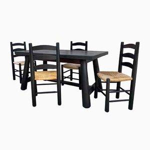 Set de Table de Salle à Manger et Chaises Brutalistes par Georges Robert, 1950s, Set de 5