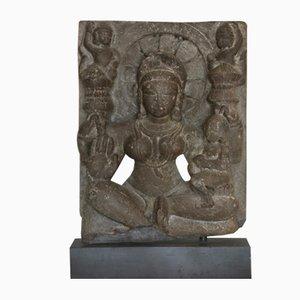 12th-Century Indian Goddess Black Stone Sculpture