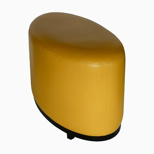 Ottomana in pelle gialla
