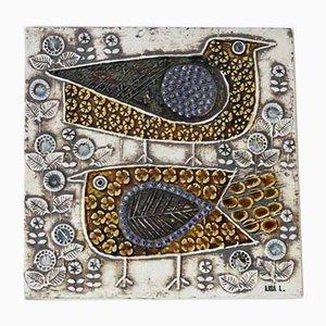Schwedische Keramik Wandtafel mit Vogeldesign von Lisa Larson für Gustavsberg, 1960er