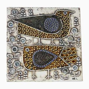 Swedish Ceramic Plaque with Bird Design by Lisa Larson for Gustavsberg, 1960s