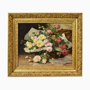 Bouquet of Roses, Oil on Canvas, 19th-Century