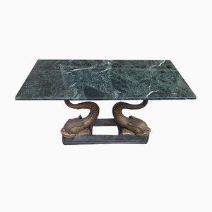 Konsolentisch mit Beinen aus Bronze & grüner Marmorplatte, 1970er