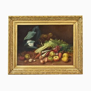 Vegetable and Fruit, Oil Painting on Canvas, 19th-Century