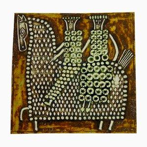Placca in ceramica di Unik con disegno a cavallo di Lisa Larson per Gustavsberg, Svezia, 1961