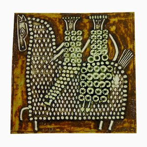 Swedish Ceramic Unik Series Plaque with Horse & Rider Design by Lisa Larson for Gustavsberg, 1961