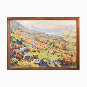 Mountain Valley Painting, Oil on Canvas, 20th-Century
