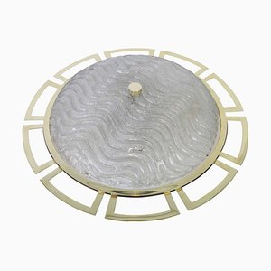 Large Brass Sputnik Flush Mount in the Style of Stilnovo by Gaetano Sciolari, 1970s