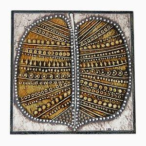 Plaque Série Unik en Céramique avec Feuilles par Lisa Larson pour Gustavsberg, 1961