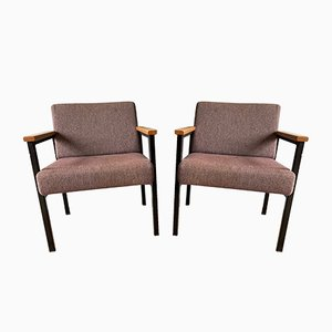 Vintage Industrial Metal Lounge Chairs with Wooden Armrests, Set of 2