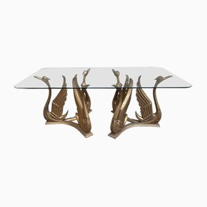 Coffee Table with Glass Top & Brass Swan Legs, 1970s