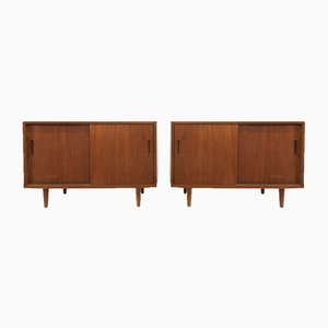Danish Teak Sideboards with Sliding Doors by Poul Hundevad for Hundevad & Co., 1960s, Set of 2
