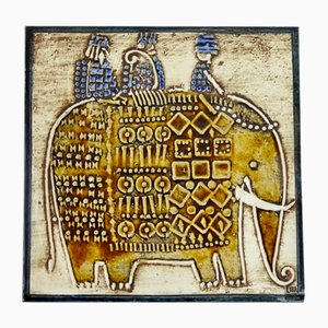 Swedish Ceramic Unik Series Plaque with Elephant Design by Lisa Larson for Gustavsberg, 1961