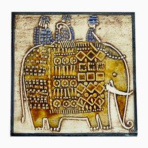 Swedish Ceramic Unik Series Plaque with Elephant Design by Lisa Larson for Gustavsberg, 1961