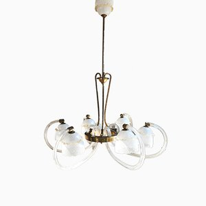 Italian Reticello Murano Glass Chandelier with Brass Structure from Barovier & Toso, 1930s