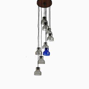 9-Light Smoked Glass & Blue Murano Glass Ceiling Lamp from Vistosi, 1960s