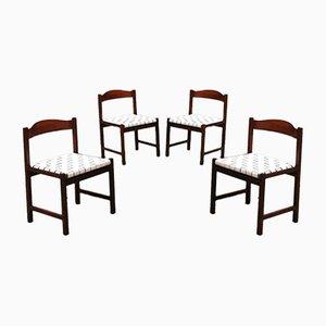Italienische Mid-Century Modern Buchenholz & Leder Esszimmerstühle von Poltronova, 1960er, 4er Set