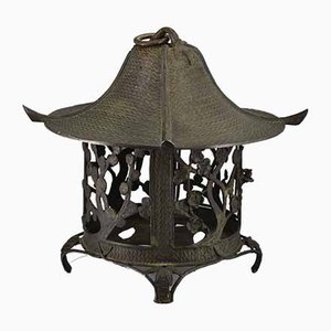 Antique Japanese Meiji Period Bronze Temple Lantern, 1890s