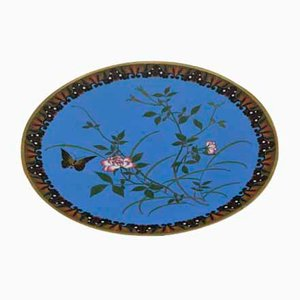 Antique Japanese Meiji Period Cloisonné Enamel Dish with Butterfly Among Flowers