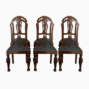 Art Deco Carved Walnut Dining Chairs, 1930s, Set of 6