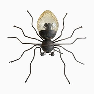 Italienische Gelbe Glas Glücksbringer Spider Wandlampe von Illuminazione Rossini, 1960er