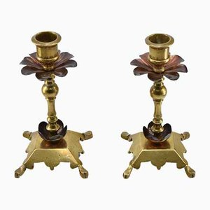 Arts & Crafts Kupfer & Messing Kerzenständer, 2er Set