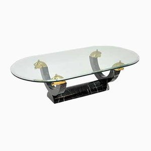 Vintage Marble, Glass & Brass Coffee Table, 1970s