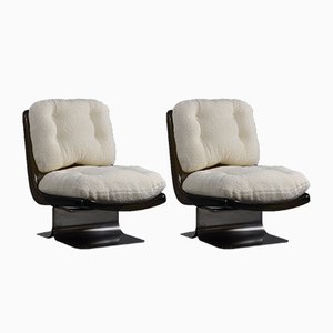 French Bouclé Lounge Chairs from Grosfillex, 1970s, Set of 2