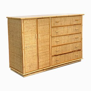 Bamboo & Wicker Sideboard, 1970s