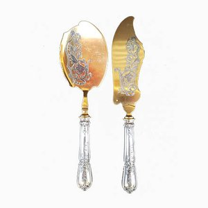 Ice Cream Serving Implements with Silver Handles, 1890s, Set of 2