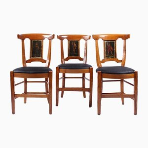 Antique French Cherry Dining Chairs with Greek Painting, 1800s, Set of 4