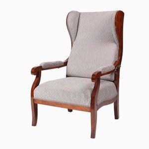 Antique Biedermeier Walnut Wing Chair, 1840s