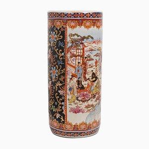 Vaso con ombrello decorativo in ceramica, Cina, anni '80