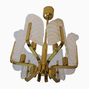 Brass & Glass Acanthus Leaf Chandelier by Carl Fagerlund for Orrefors, 1960s