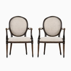 George III Painted & Gilded Armchairs, Set of 2