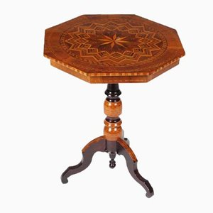 Antique Italian Walnut Side Table with Geometric Marquetry, 1880s