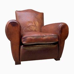 Vintage French Leather Model Chapeau du Gendarme Club Chair, 1940s