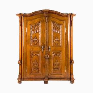 Antique Lake Constance Carved Limewood & Spruce Cabinet, 1790s