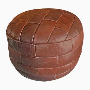 Patchwork Leather Pouf, 1970s