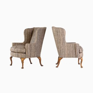 English Wing Armchairs, 1930s, Set of 2