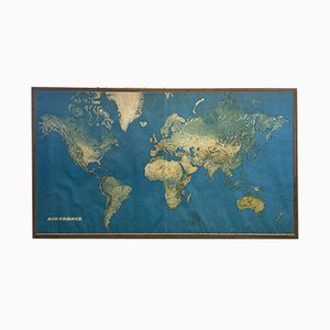 Large Framed World Map from Air France, 1960s