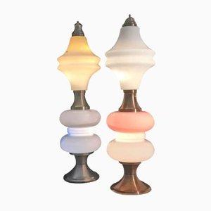 Lampadaires Vintage en Verre de Murano de Mazzega, 1970s, Set de 2