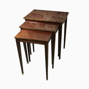 Mahogany Nesting Tables with Brass Feet, 1970s, Set of 3
