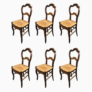 Louis Philippe Walnut & Straw Dining Chairs, 19th Century, Set of 6