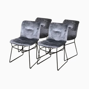 Italian Black Metal & Gray Velvet Dining Chairs from Calligaris, 1970s, Set of 4