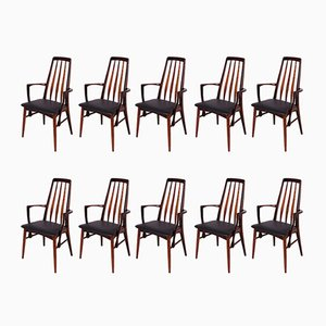 Rosewood Eva Dining Chairs by Niels Koefoed for Koefoeds Hornslet, 1960s, Set of 10