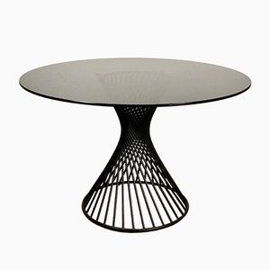 Italian Round Black Iron Dining Table with Gray Smoked Glass Top from Calligaris, 1960s