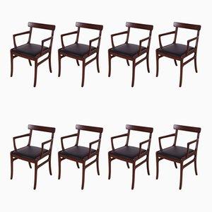 Dänische Palisander Esszimmerstühle von Ole Wanscher für Poul Jeppesens Møbelfabrik, 1960er, 8er Set